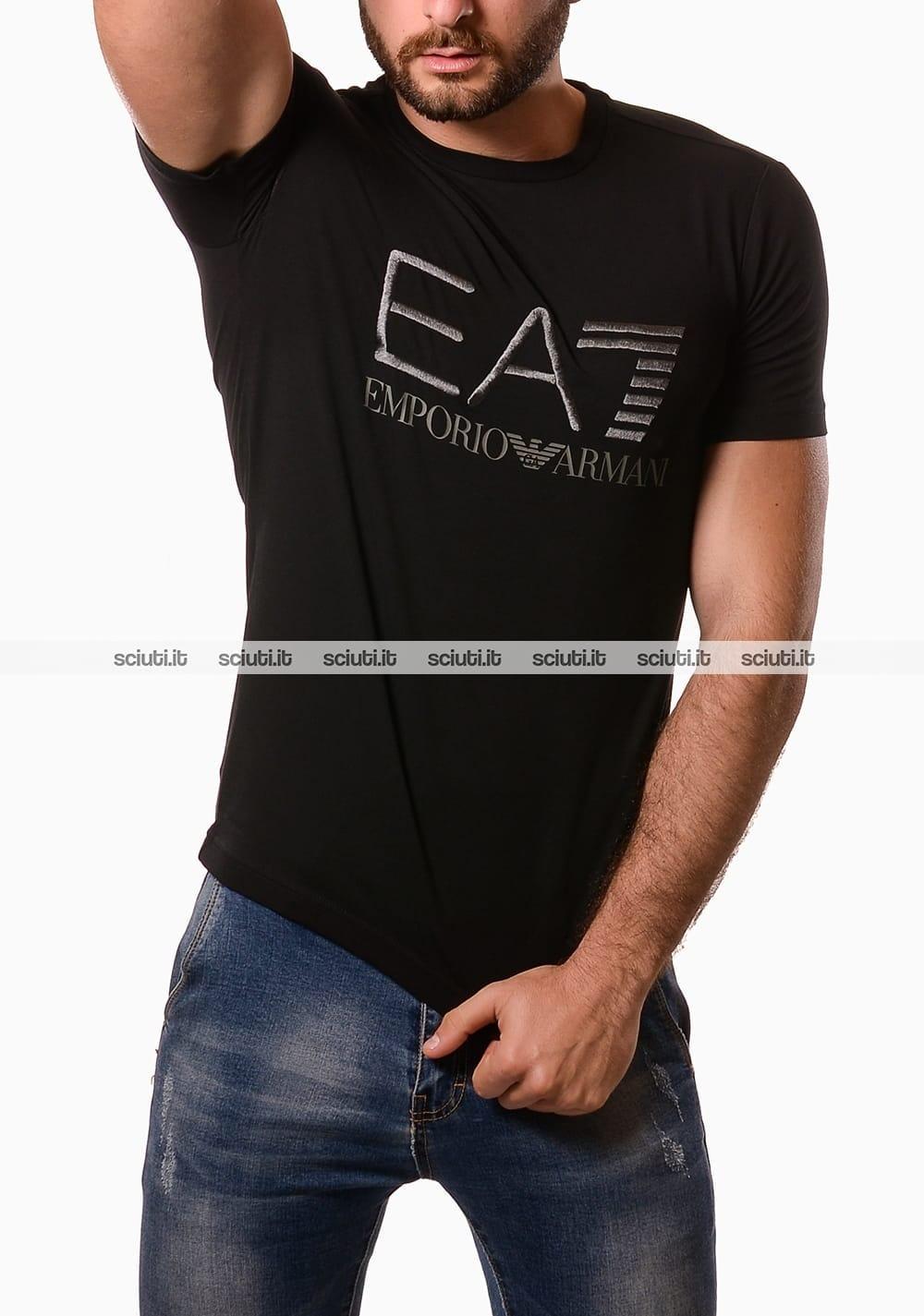 sale retailer cff1d 22ebc Tshirt Emporio Armani uomo logo ricamato nero | Sciuti.it