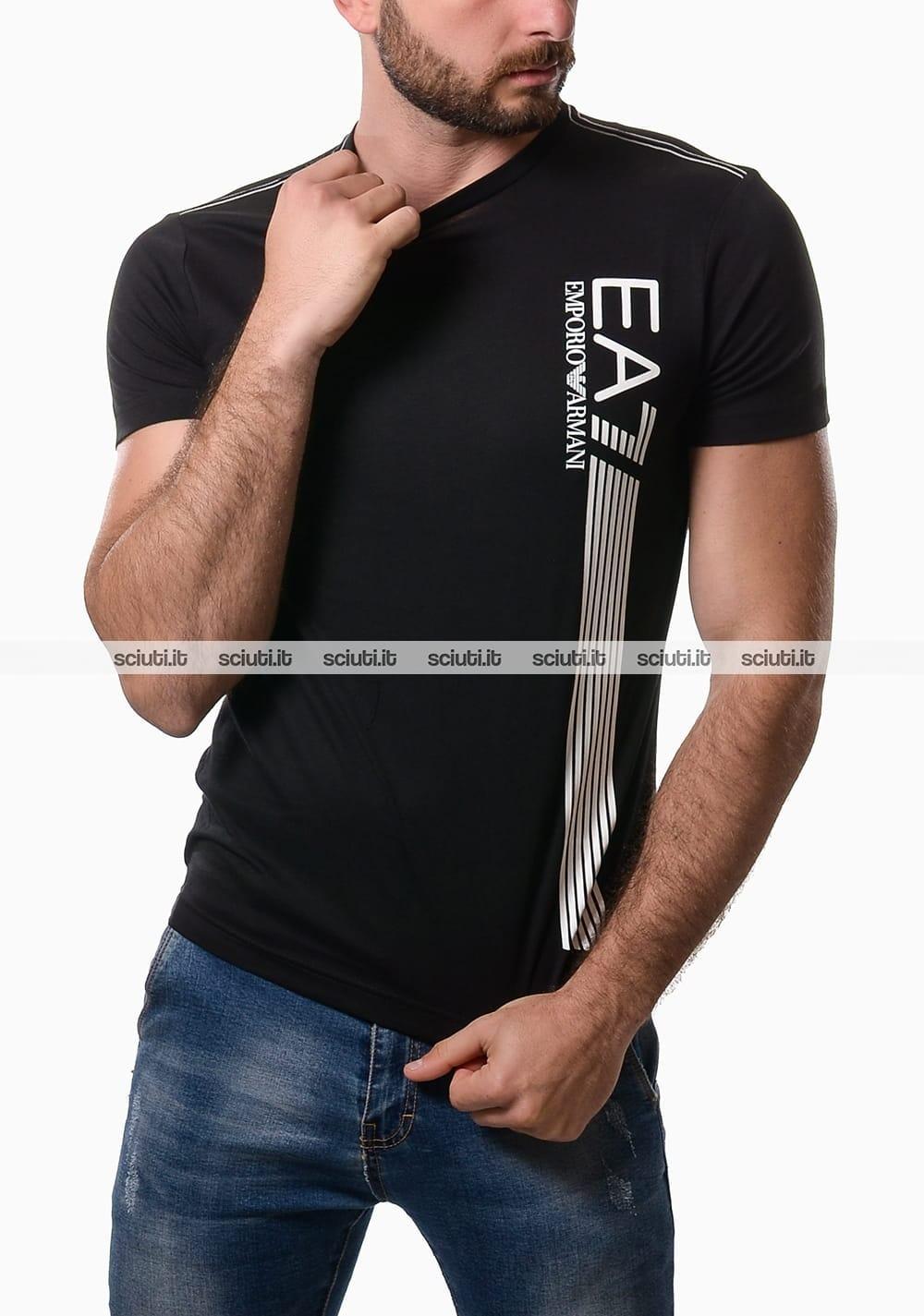 pretty nice 4d901 11285 Tshirt Emporio Armani uomo 7 lines logo nero