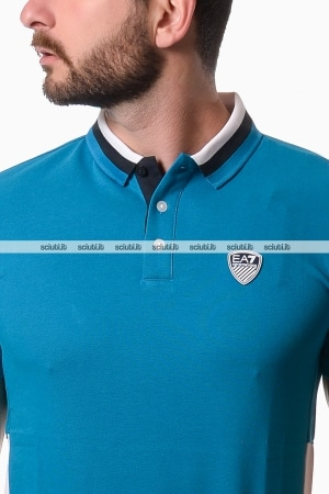 Polo Emporio Armani uomo color block turchese