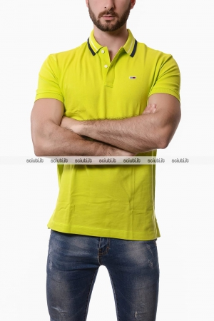 Polo Tommy Hilfiger uomo classic stretch verde lime