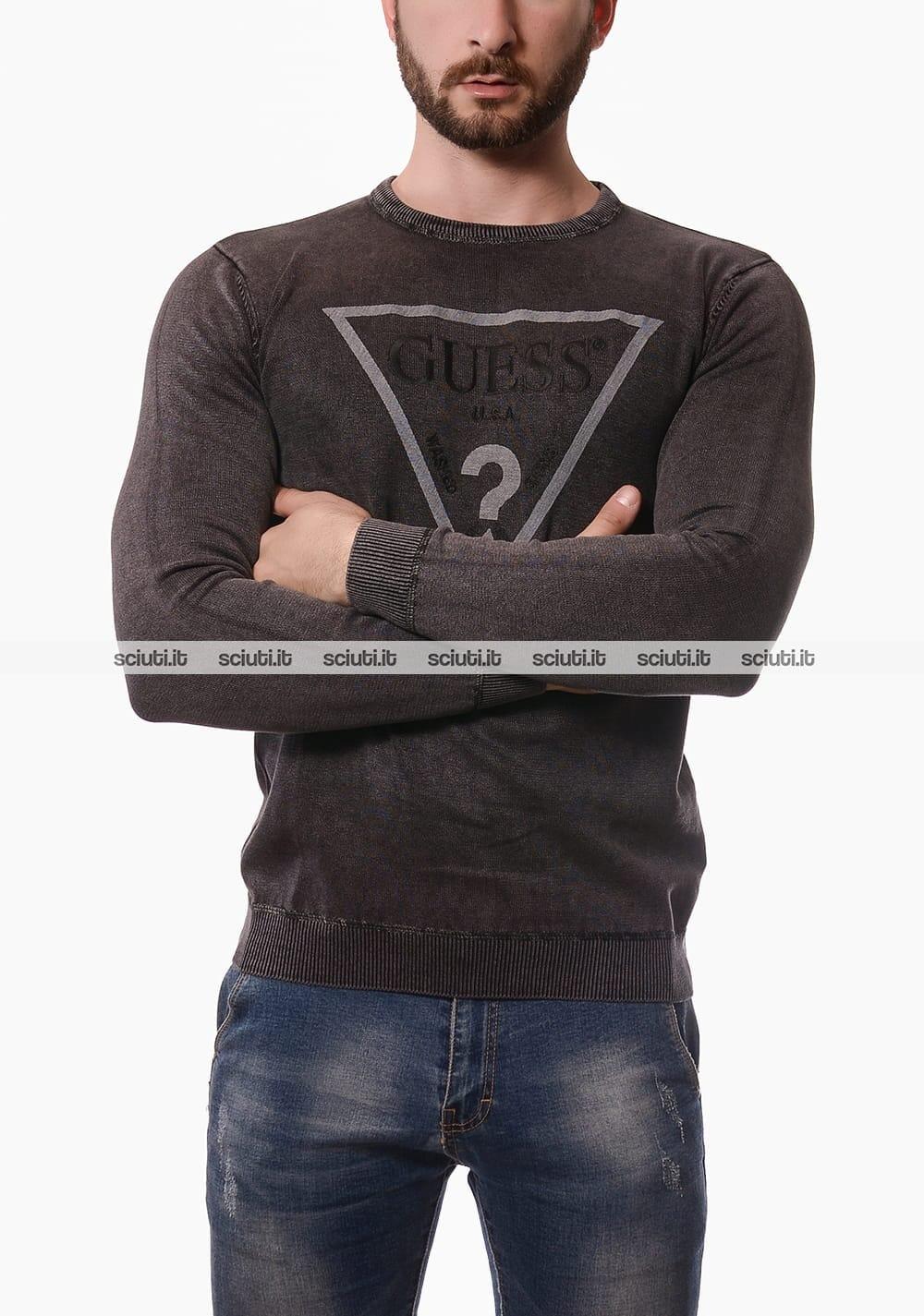 in vendita 1ab62 33b24 Maglia Guess uomo logo frontale nero