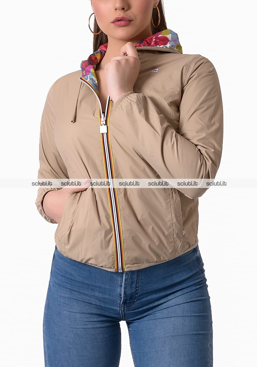 Giubbotto Kway donna Lily plus double graphic beige fantasia floreale
