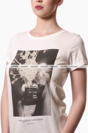 Tshirt Guess donna stampa con paillettes bianco