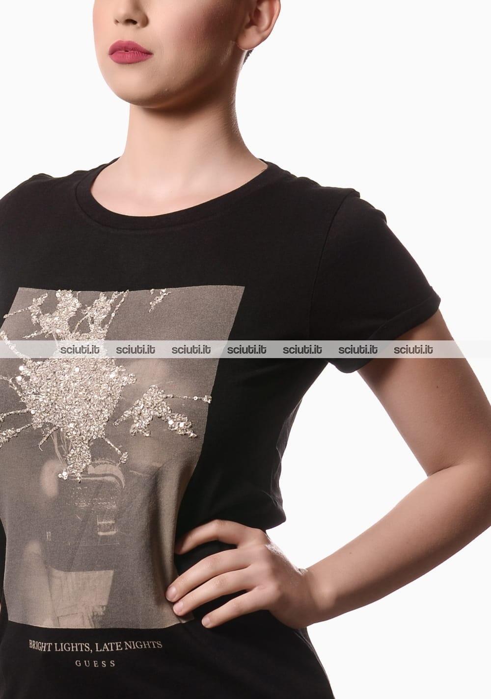 Tshirt Guess donna bordeaux logo paillettes