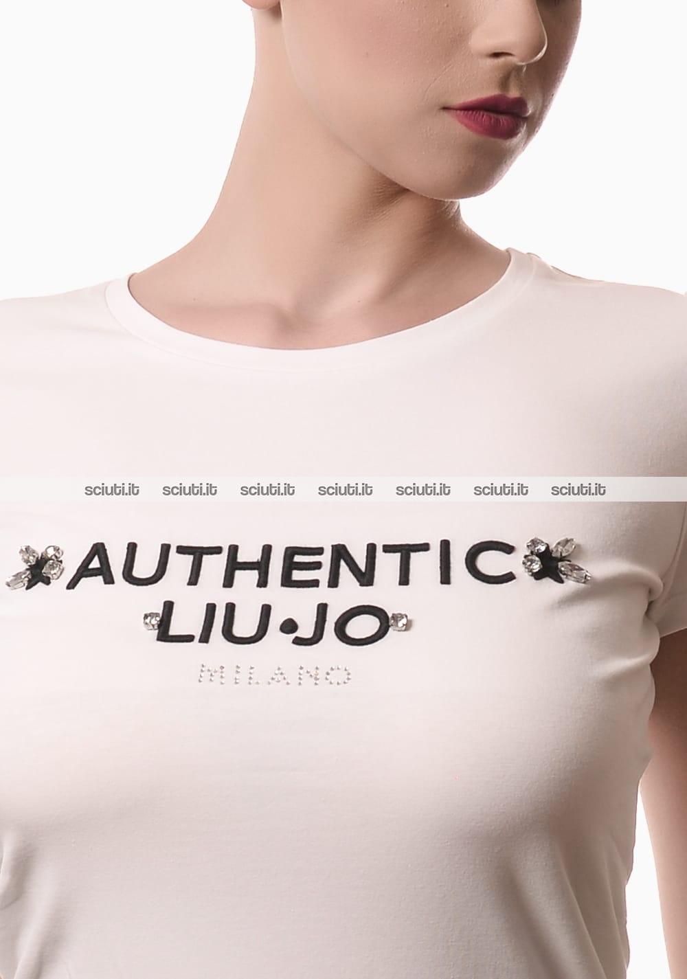 Tshirt Liu Jo donna Flora logo ricamato bianco   Sciuti.it