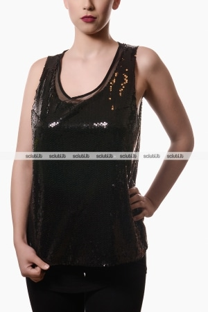 Top Liu Jo donna con paillettes nero