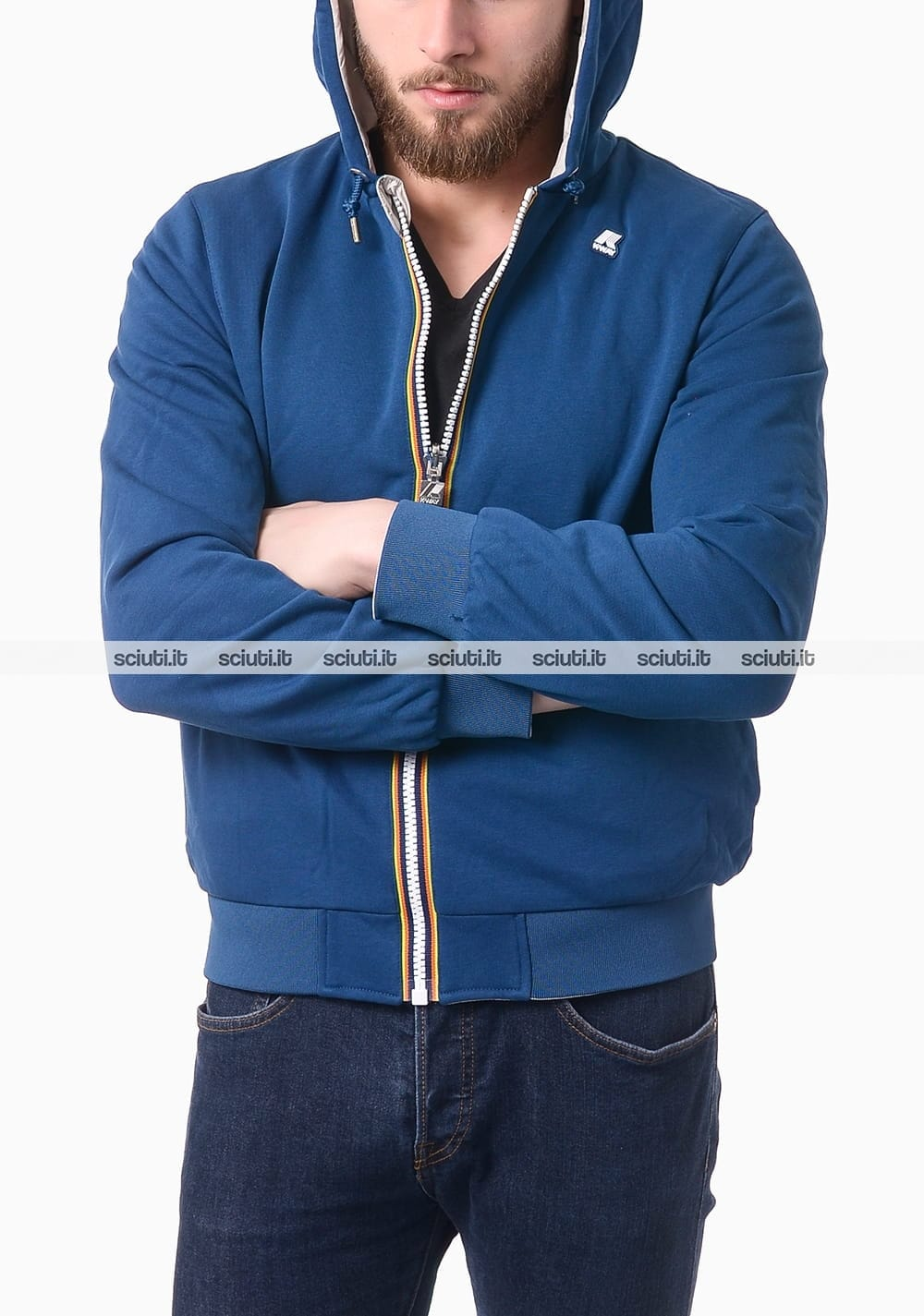 Giubbotto reversibile uomo K-WAY JACQUES PLUS DOUBLE in tessuto giallo e grigio