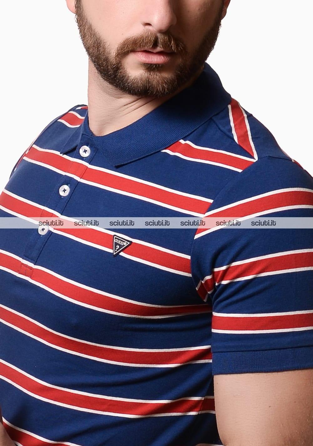 Polo Guess uomo a righe blu rosso | Sciuti.it