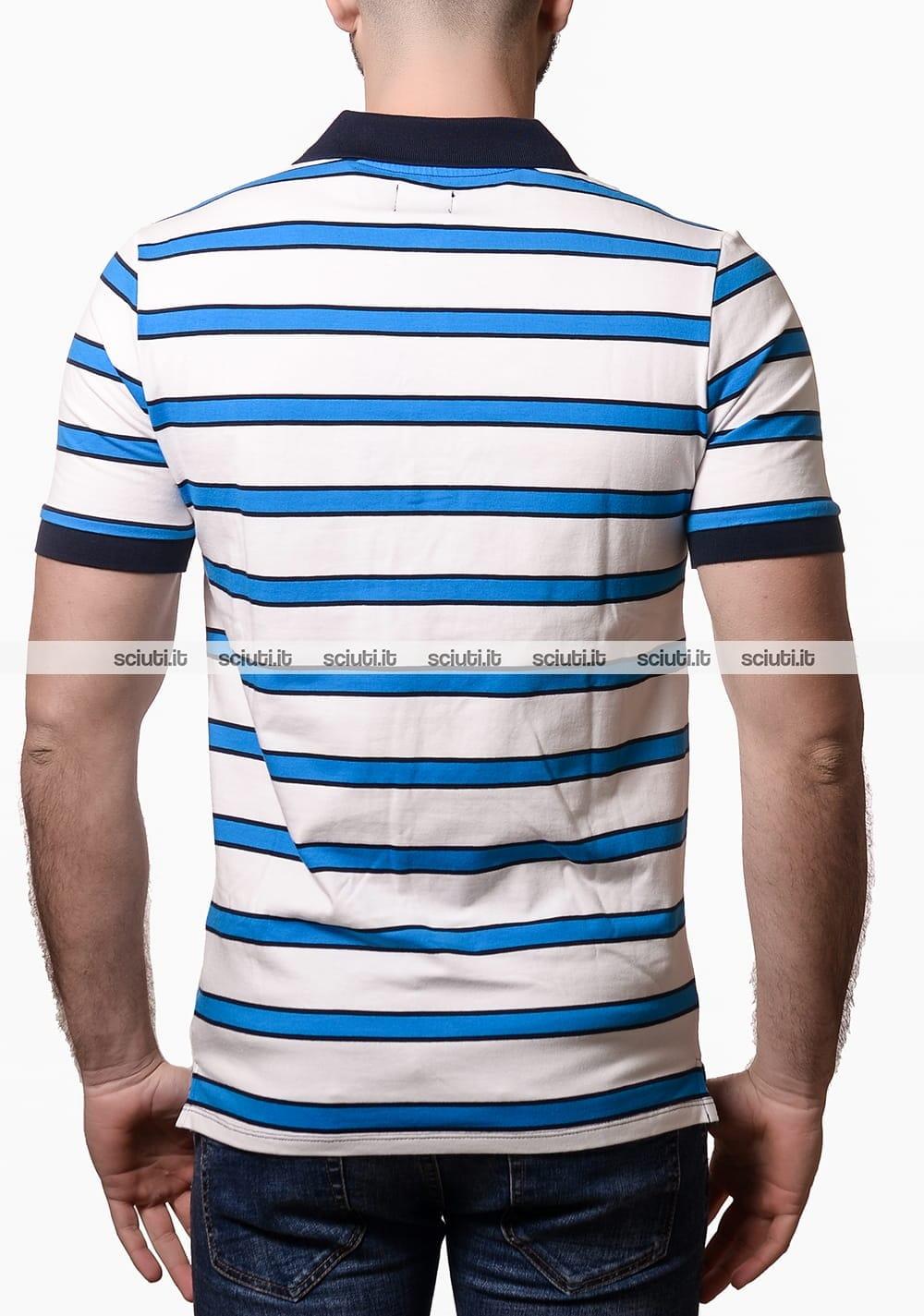 Polo Guess uomo a righe azzurro bianco | Sciuti.it