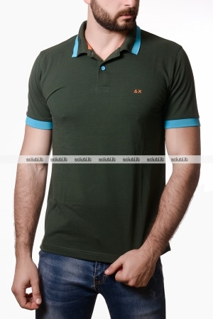 Polo Sun68 uomo big stripes fluo verde scuro