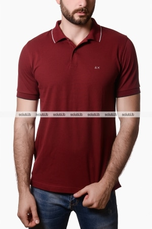 Polo Sun68 uomo con bordi in contrasto bordeaux