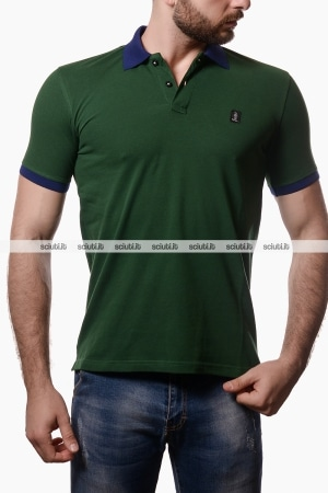 Polo Refrigue uomo bicolor verde scuro