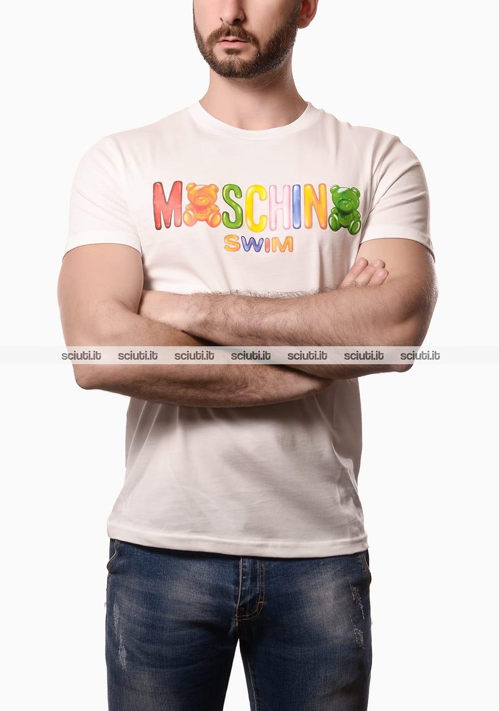 Tshirt Moschino Swim uomo logo gummy bear bianco | Sciuti.it
