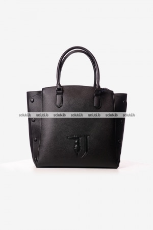 Borsa shopping Trussardi donna Melissa bottoni nero