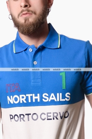 Polo North Sails uomo bicolor celeste