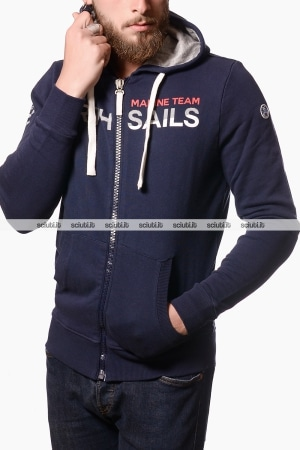 Felpa North Sails uomo con cappuccio e zip blu navy