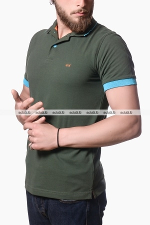 Polo Sun68 uomo small stripes fluo verde scuro