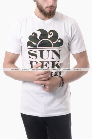 Tshirt Sundek uomo logo Follow the sun bianco