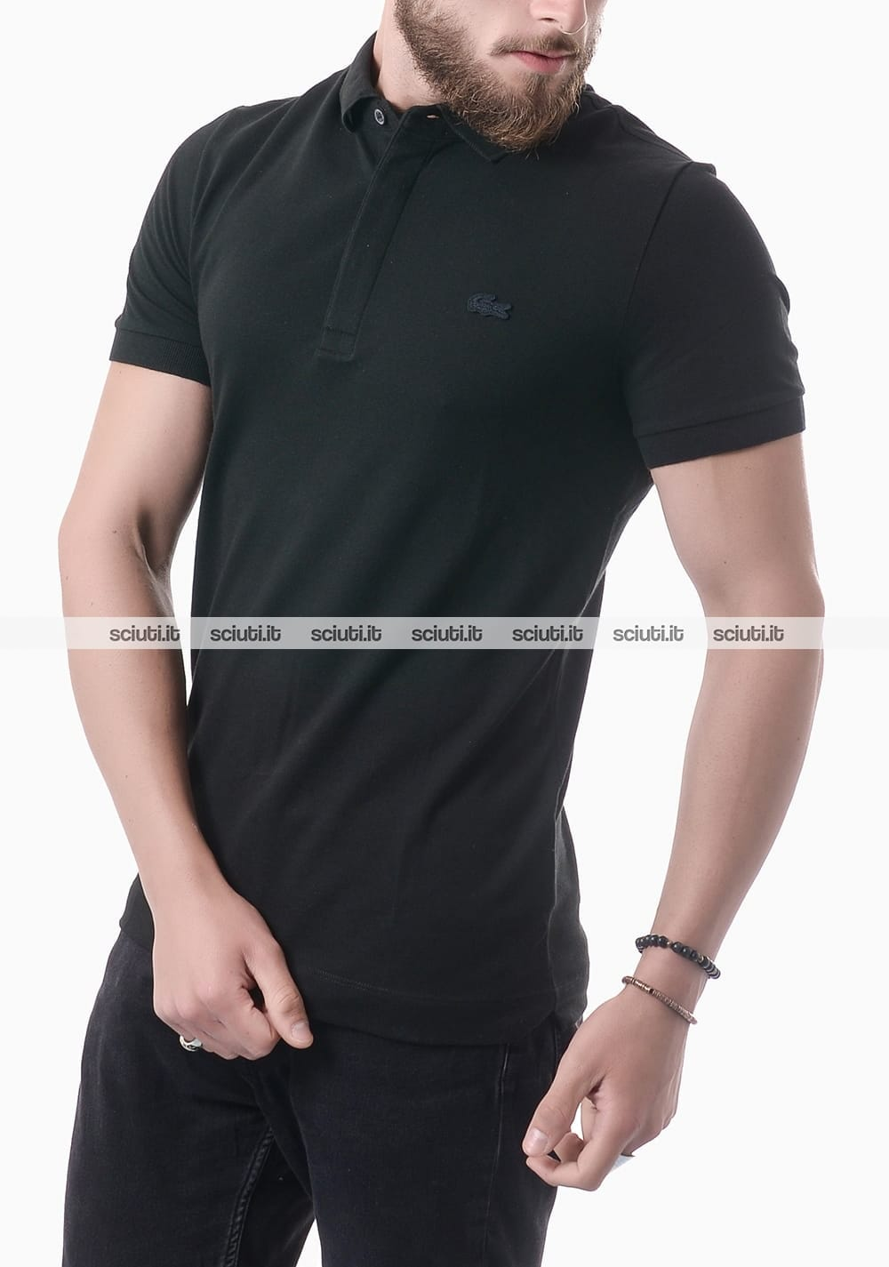 Polo Lacoste uomo pique stretch nero