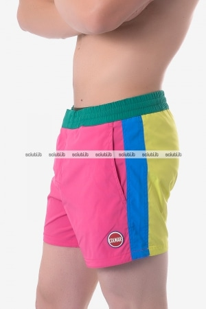 Costume boxer Colmar uomo color block rosa giallo