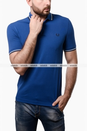 Polo Fred Perry uomo twin tipped blu royal