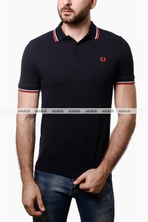 Polo Fred Perry uomo twin tipped blu navy