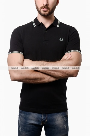 Polo Fred Perry uomo twin tipped nero
