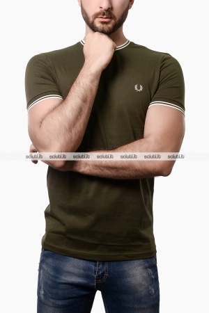 Tshirt Fred Perry uomo twin tipped verde militare