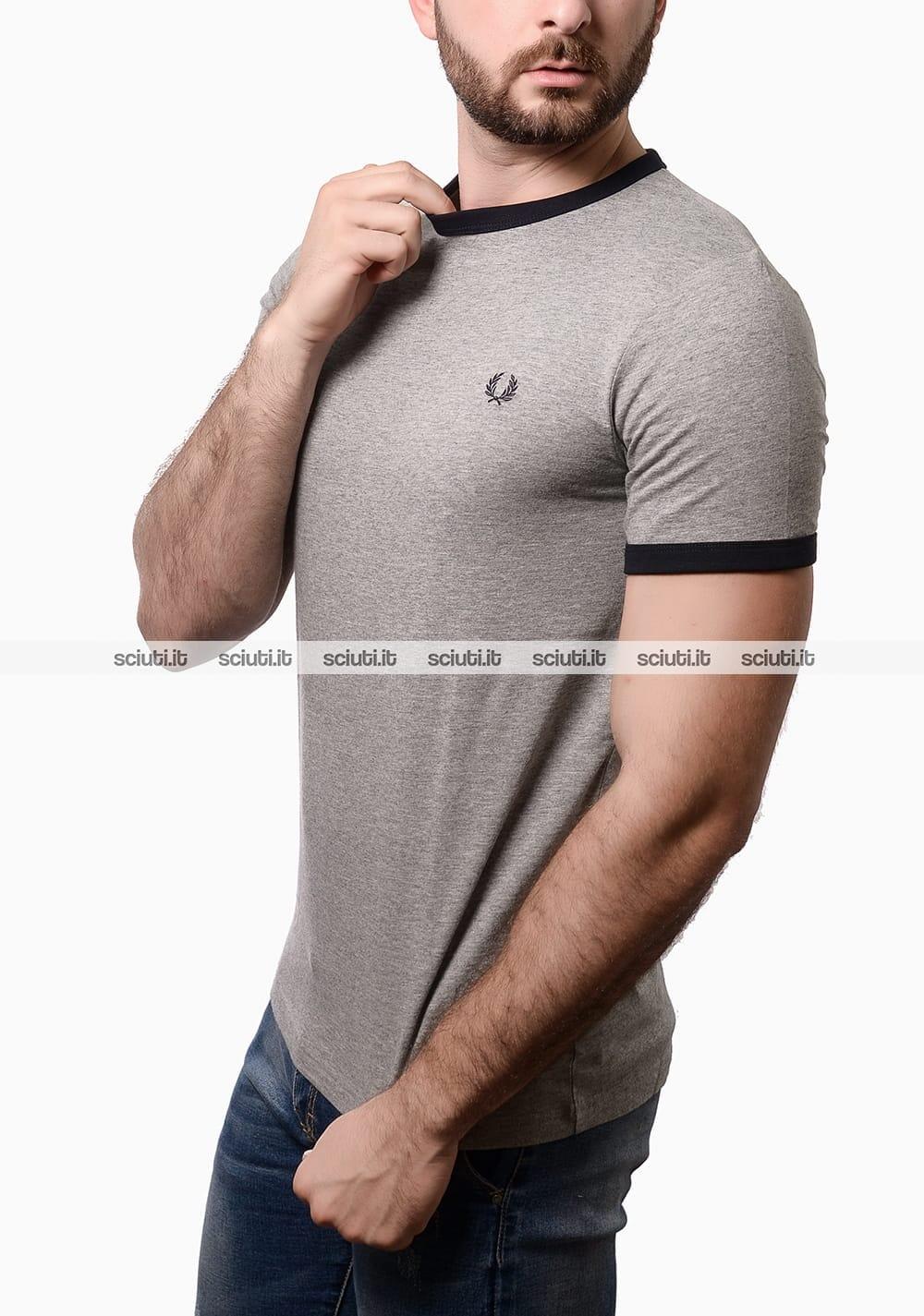 a2c4659513 Tshirt Fred Perry uomo ringer grigio