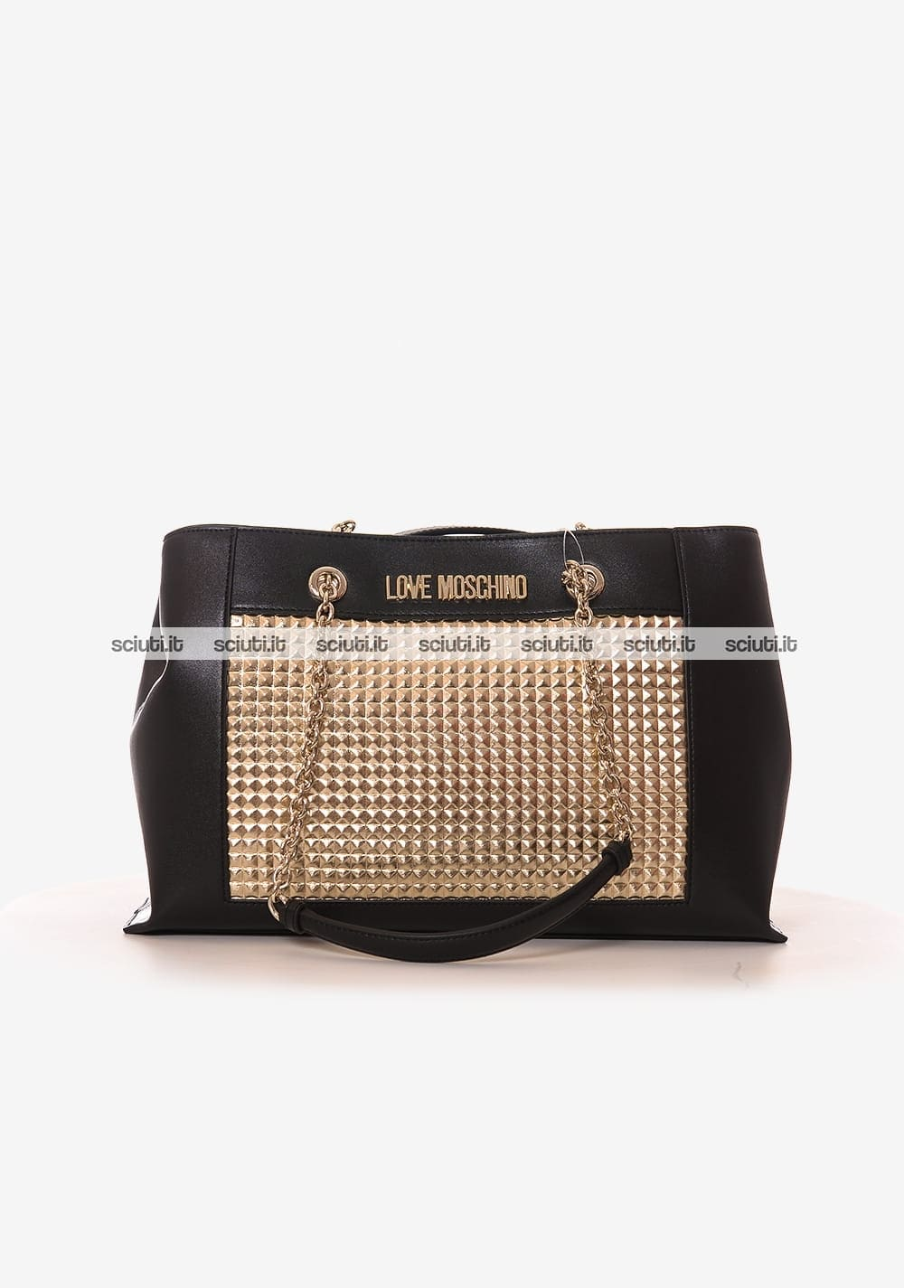 Borsa shopping Love Moschino donna nera laminata