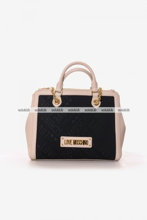 Borsa a mano Love Moschino donna logo all over beige nero
