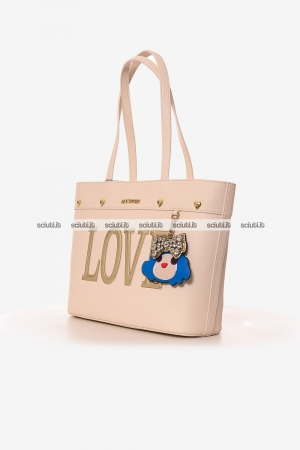 Borsa shopping Love Moschino donna charming doll avorio