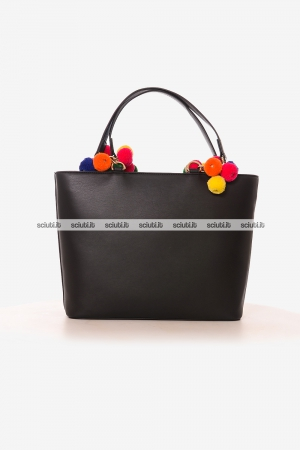 Borsa shopping Love Moschino donna con pom pom nero