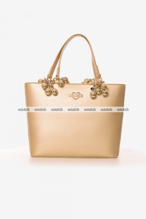 Borsa shopping Love Moschino donna gold balls oro