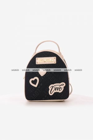 Zaino Love Moschino donna logo all over beige nero
