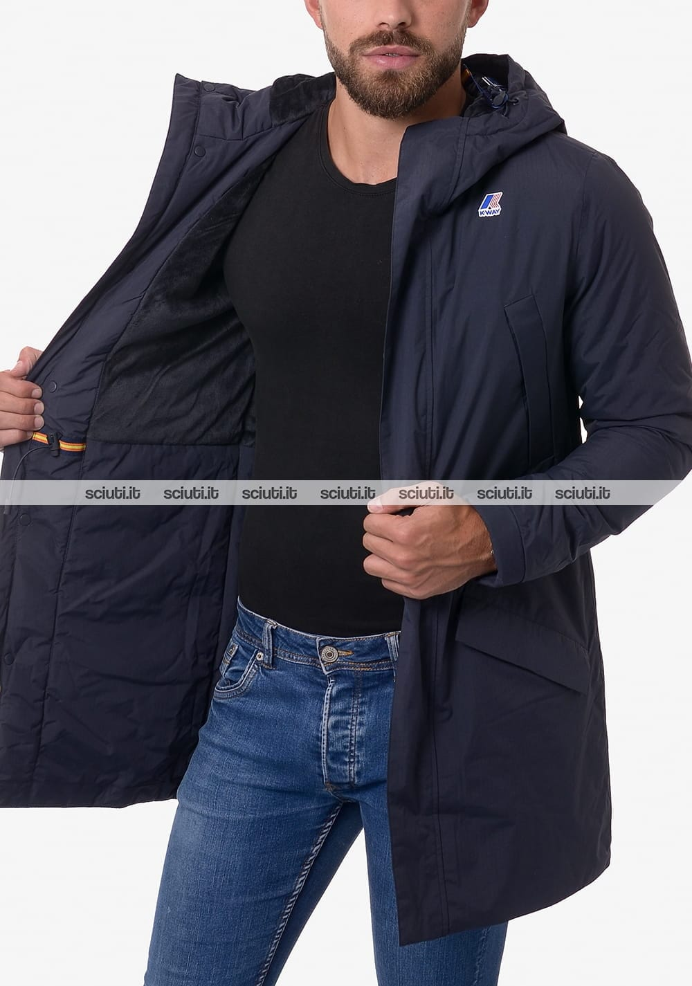 Cappotto Kway uomo blu scuro Remi ripstop marmotta | Sciuti.it