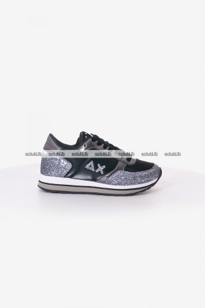 Scarpe SUN68 donna nere Kate nylon and glitter