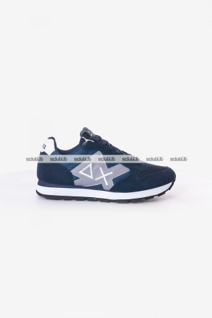 Scarpe SUN68 uomo blu Tom nylon mesh patch logo