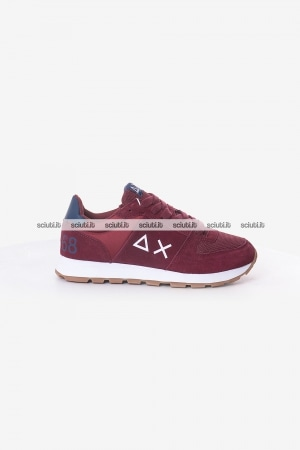 Scarpe SUN68 uomo bordeaux Tom side band nylon mesh