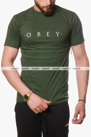 Tshirt Obey uomo verde scuro Novel basic