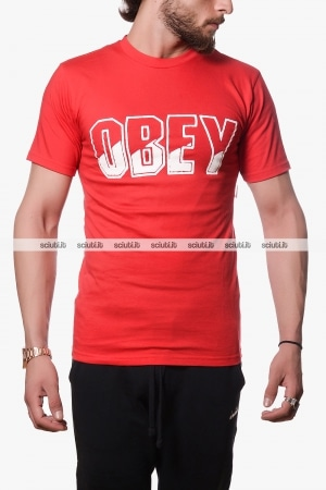 Tshirt Obey uomo rossa block buster