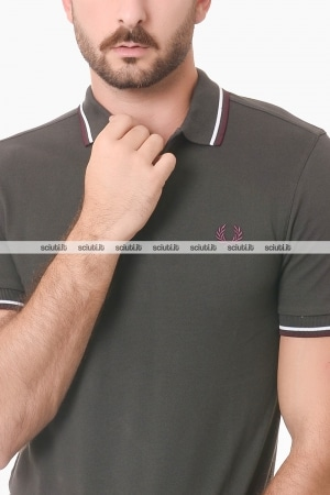 Polo Fred Perry uomo twin tipped grigio