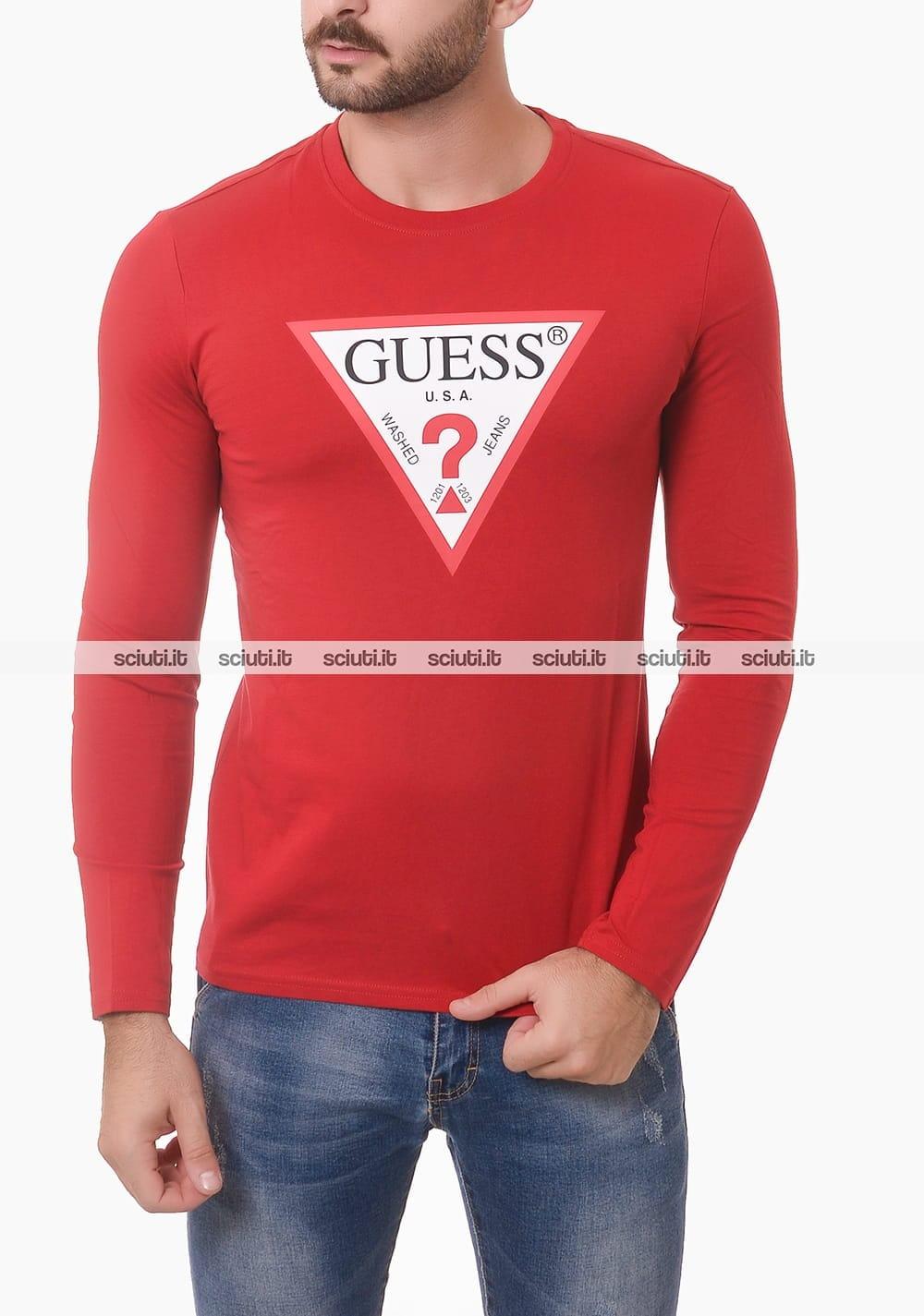 Tshirt Guess uomo bianca logo tee manica lunga