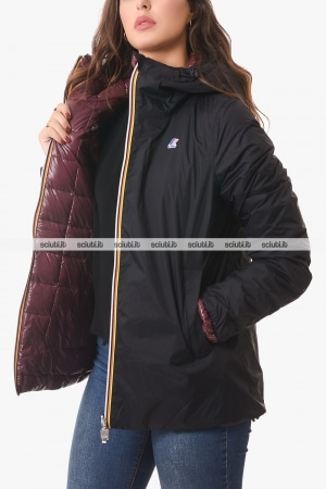 Giubbotto Kway donna nero/bordeaux reversibile Marguerite thermo plus double