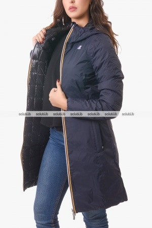 Cappotto Kway donna nero/blu scuro reversibile Charlene thermo plus double