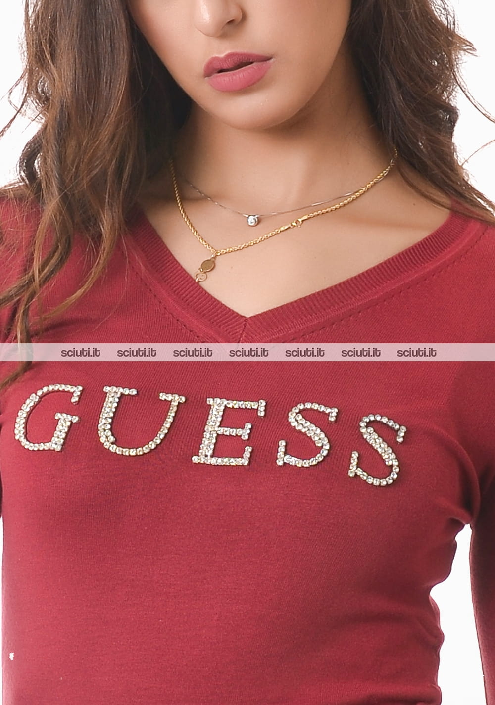 Maglione Guess donna bordeaux logo strass