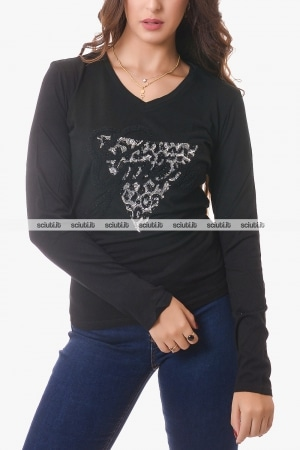 Tshirt Guess donna nera logo paillettes