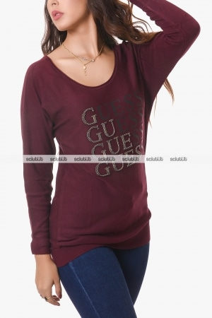 Maglione Guess donna bordeaux over logo strass