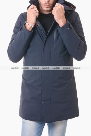 Cappotto Save the duck uomo blu scuro con cappuccio