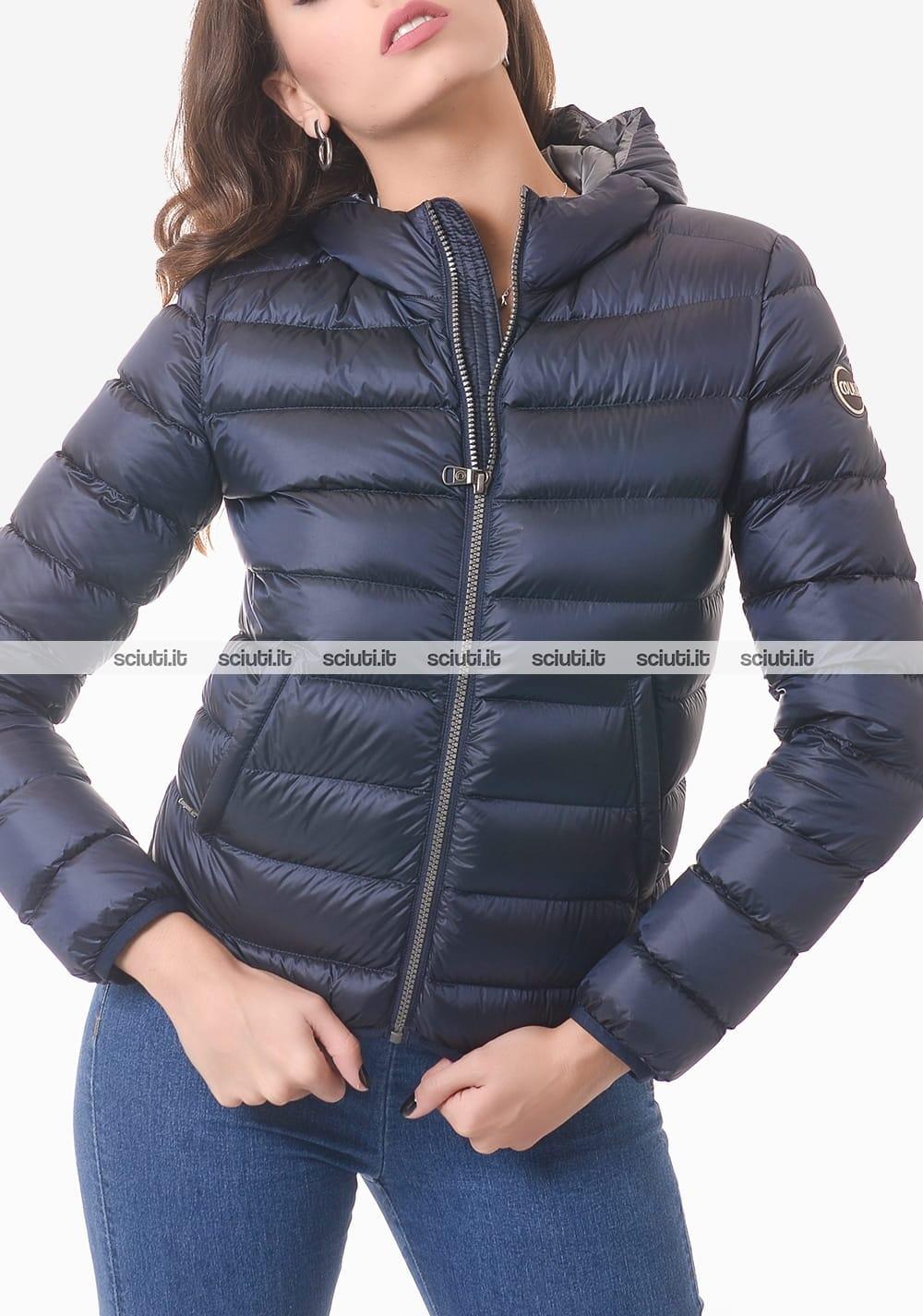 Piumino Colmar donna blu pesante corto con cappuccio
